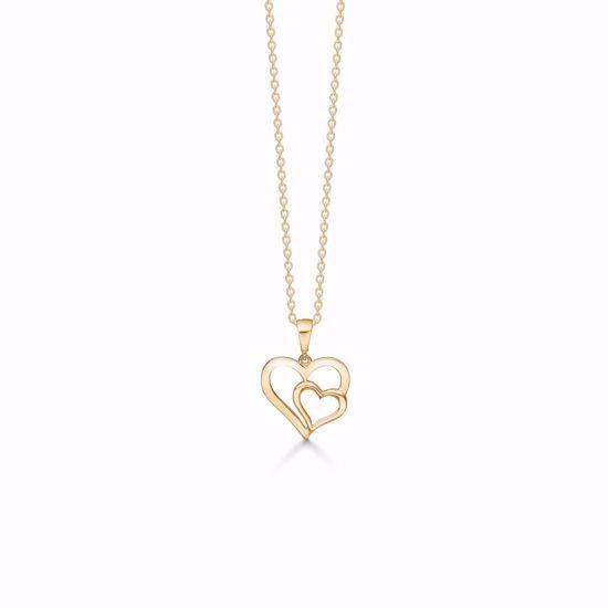 7387/08-guld-dobbelt-hjerte-vedhæng-halskæde