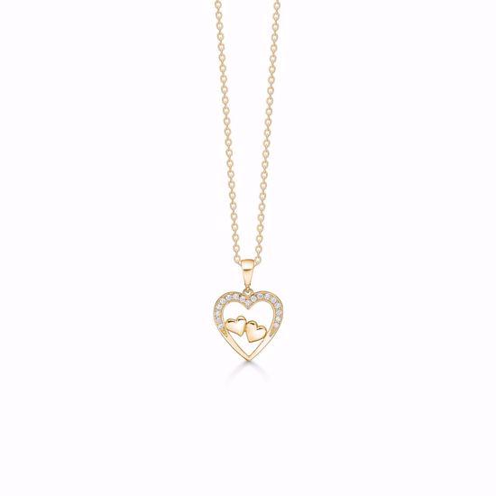 7390/08-guld-tre-hjerter-zirkonia-vedhæng-halskæde