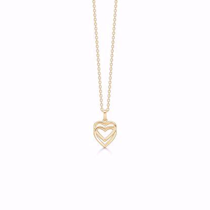 7392/08-guld-vedhæng-dobbelt-hjerte-halskæde