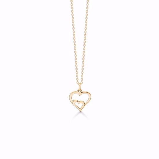 7394/08-guld-vedhæng-dobbelt-hjerte-halskæde