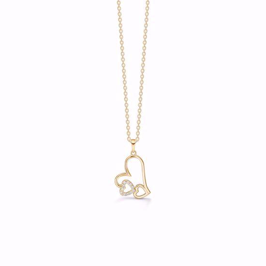 7397/08-guld-tribbel-hjerte-vedhæng-halskæde