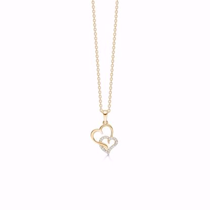 7399/08-guld-dobbelt-hjerte-vedhæng-halskæde
