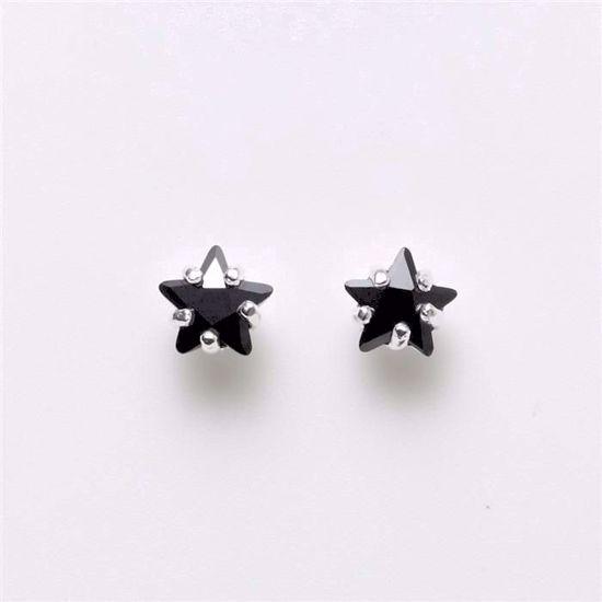 1975-sølv-sort-stjerne-ørestikker-6mm