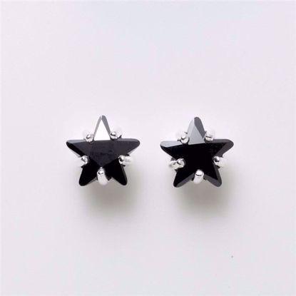 1976-sølv-sort-stjerne-ørestikker-8mm