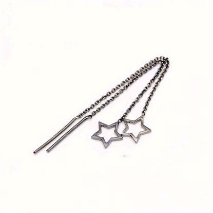 11095B-sølv-sort-rhodineret-disco-ørehængere-øreringe-med-stjerne