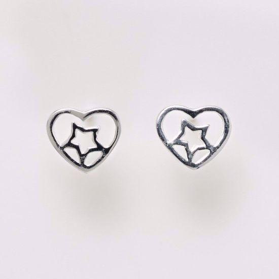 11153-sølv-ørestikker-øreringe-hjerte-stjerne
