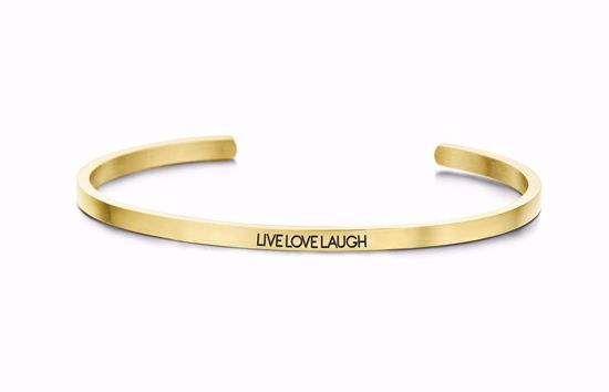 8km-b00452-key-moments-stål-guld-armring-live-love-laugh