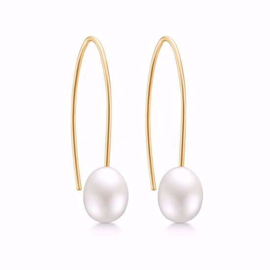 5551/08-guld-perle-ørehængere-ferskvands-perle