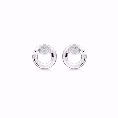 sølv-cirkel-ørestik-ørering-hamret-med-zirkonia-1925/1