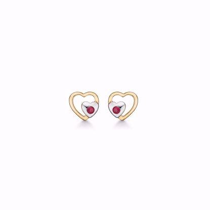 guld-dobbelt-hjerte-øreringe-ørestikker-med-rød-rubin-8328/5/08