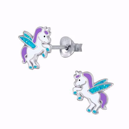 sølv-børne-ørestikker-øreringe-enhjørning-unicorn-11316