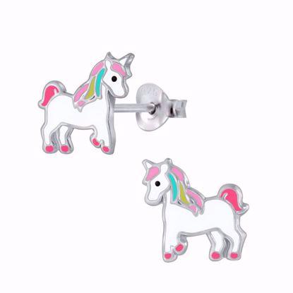 sølv-børne-ørestikker-øreringe-enhjørning-unicorn-11312