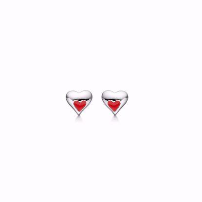 sølv-børne-ørestikker-øreringe-hjerte-med-rød-farve-1897/1