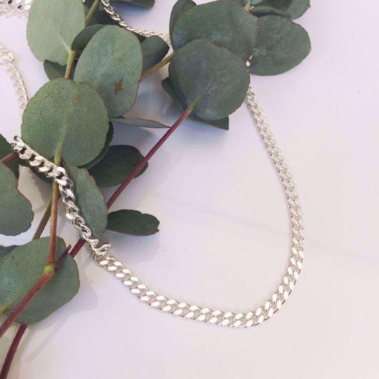 Panser kæde i sølv 42+5 cm