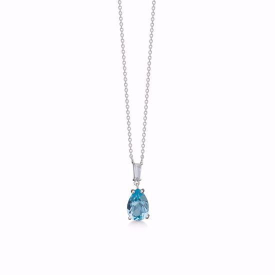 Halskæde i sølv med blå topas