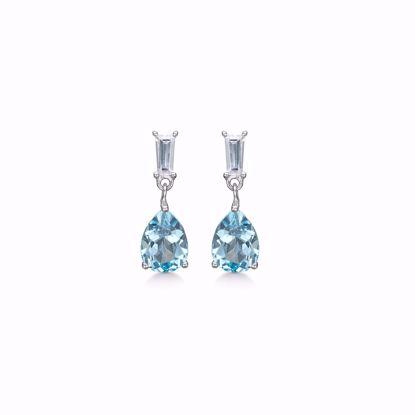 Hænge Øreringe i sølv med blå topas - lyseblå