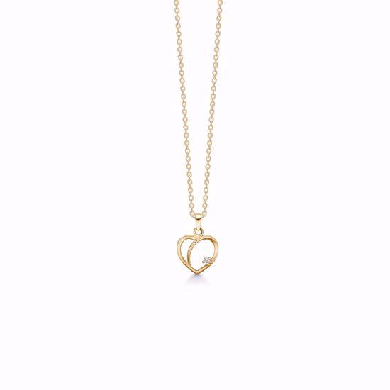 Guld hjerte vedhæng 8kt med zirkonia sten 4346/7/08