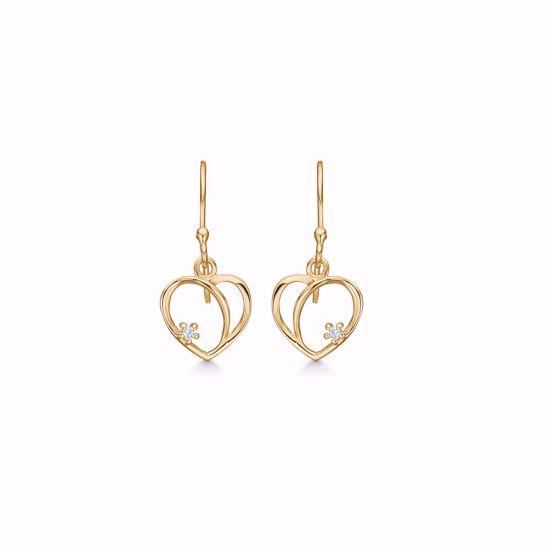 Hjerte øreringe i 8 kt guld med zirkonia sten 4346/5/08 Guld & Sølv design