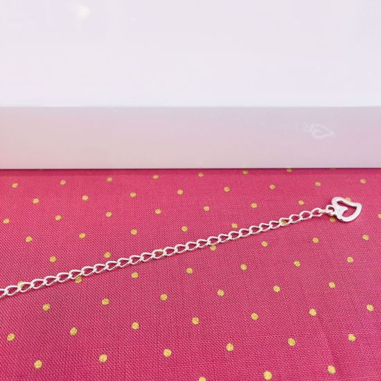 Ankelkæde i sølv med hjerte 27 cm 8683