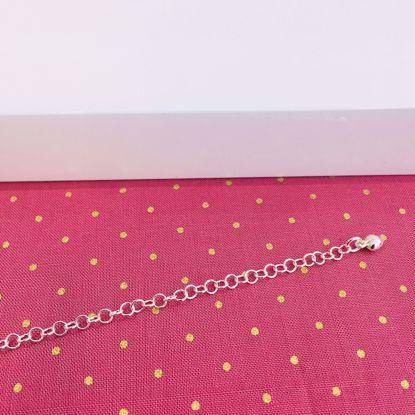 Ankelkæde i sølv med lille hjerte 27 cm 8684