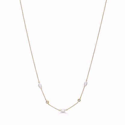 sølv-forgyldt-halskæde-med-barok-perle-og zirkonia-sten-8953/45