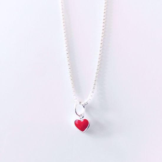 Billede af Halskæde med rødt hjerte 592/3