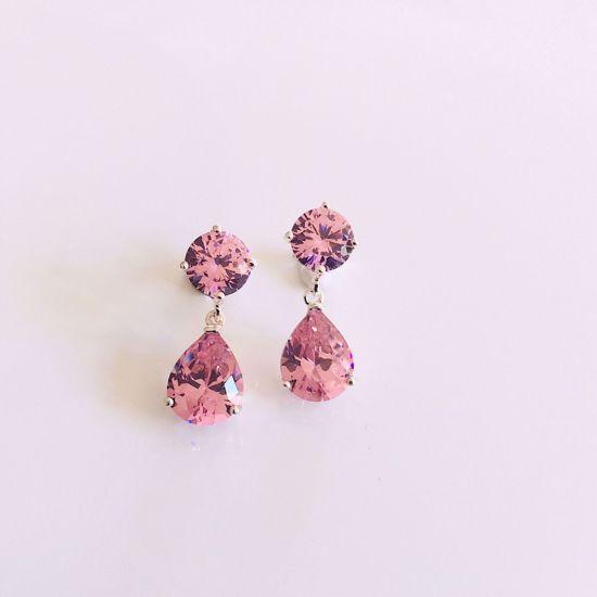 Billede af OUTLET Ørestikkere i sølv med lyserød zirkonia sten  701/1