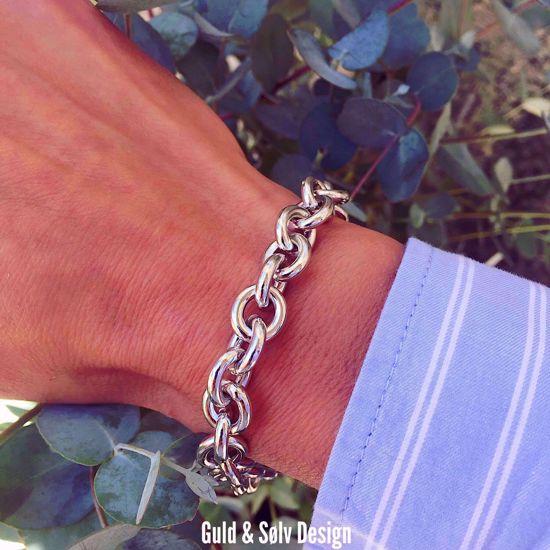 Billede af Sølv armbånd rund anker 20cm - 8950