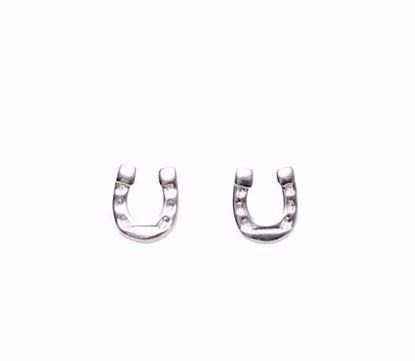 Billede af Sølv børne ørestik hestesko - 1038
