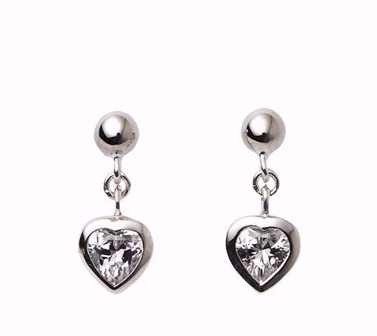 Billede af Sølv børne ørehængere hjerte med zirkonia - 11212
